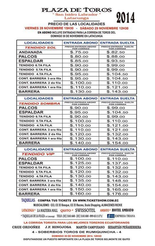 Abono Precios Toros Latacunga Boletos Entradas Tickets 2014